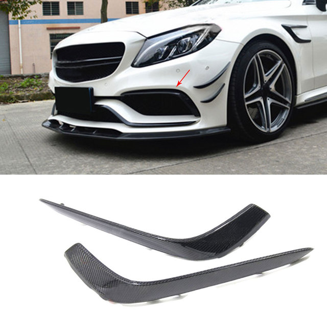 C Class Carbon Fiber Front Bumper  Fog lamp  Cover trims for Mercedes Benz W205 C63 AMG C200 C260 C300 Sedan Coupe 15-17