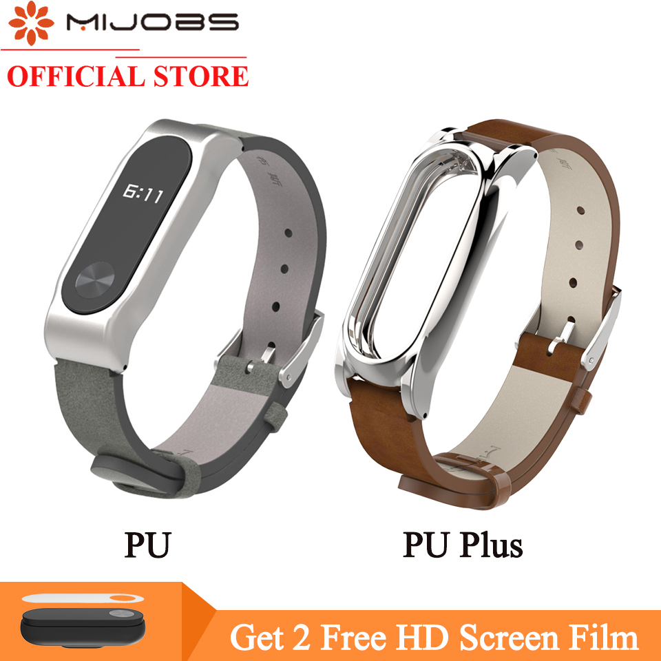 Mijobs PU Leather Strap For Xiaomi Mi Band 2 Strap For Mi Band 2 Smart Watch Bracelet Screwless Wrist Bracelet For Miband 2 Band