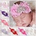 Bebê recém-nascido Bonito Do Bebê Coroa de Pérolas Rosa Fita Elasticidade Faixa de Cabelo Flor Chiffon Lace Headband Do Bebê Acessórios Para o Cabelo Headwear