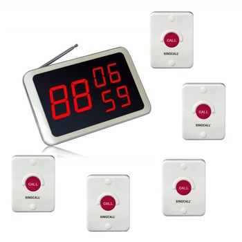 SINGCALL. Wireless Service Calling, hotel system,can be fixed on wall, Pack of 5 pcs of pagers and 1 pc Display Receiver