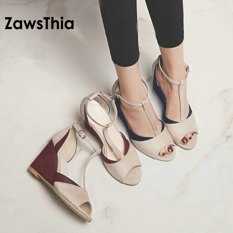 ZawsThia 2018 summer woman sexy T-strap platform shoes chaussures femme ladies peep toe wedges sandals high heels for women