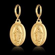 Orecchini a goccia religiosi della vergine maria per le donne orecchini Color oro orecchini pendenti gioielli cristiani regalo madre