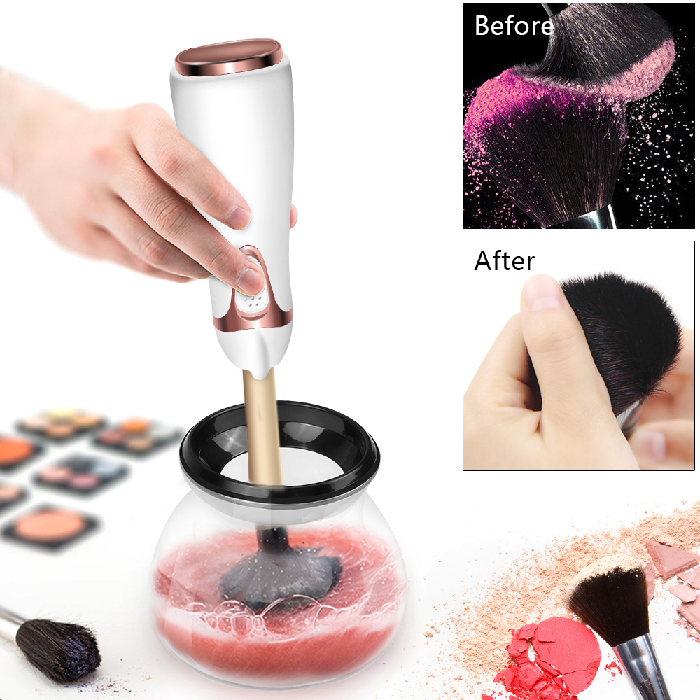 2018 New Automatic Electronic Makeup Brush Cleaner and Drier In Seconds Makeup Brush Cleaner hot pink apple shaped makeup brush cleaner