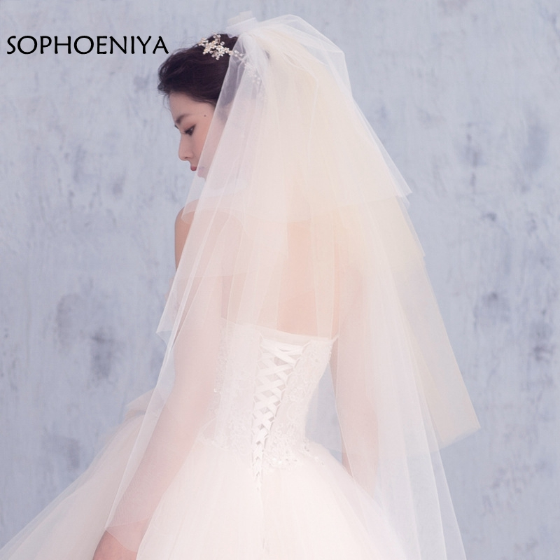 New Arrival White Bridal Veil 4 Layers 2020 Wedding Veil Veu De Noiva Abendkleider Velos De Novia Accesorios Mujer Velo Novia
