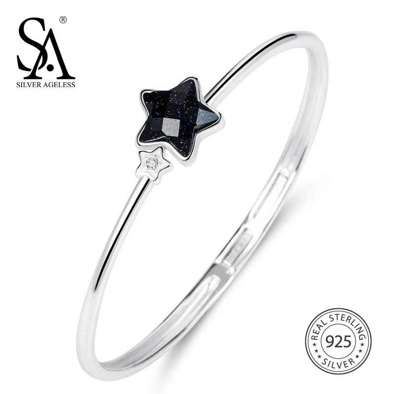 SILVER AGELESS Real 925 Sterling Aventurine Star Bracelets Bangles for Women Fine Jewelry Round Bracelet Trendy Gift цены