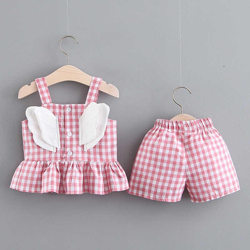 ลายสก๊อตทารกแรกเกิดเสื้อผ้าเด็กผู้หญิงฤดูร้อน bodysuite เด็กวัยหัดเดินเสื้อผ้าแฟชั่นฤดูร้อน 2019 เสื้อยืด + กางเกงชุดเด็ก 6 เดือน