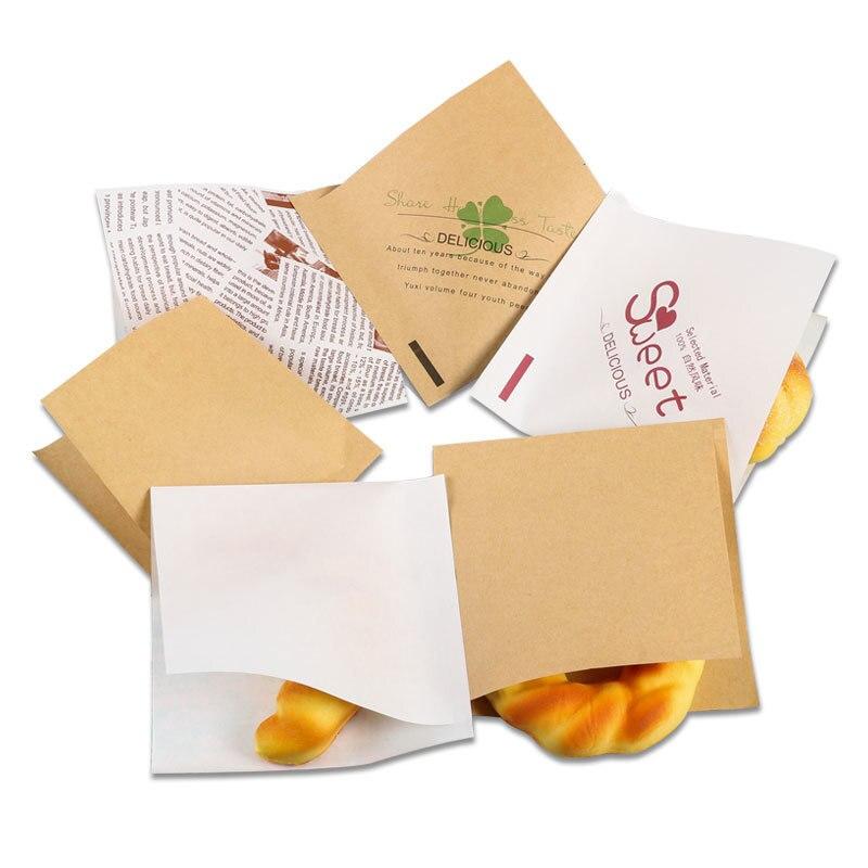 1000 قطعة 15x15 سنتيمتر المثلثية كرافت ورقة حقيبة الكعك شطيرة أكياس الخبز الخبز الغذاء أكياس التعبئة والتغليف الأبيض البني مخصصة-في حقائب ومستلزمات تغليف الهدايا من المنزل والحديقة على  مجموعة 2