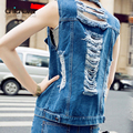 Womens Denim Vests Sleeveless fashion Ripped big Holes Button Jeans Vest woman outwear Tops FS0214