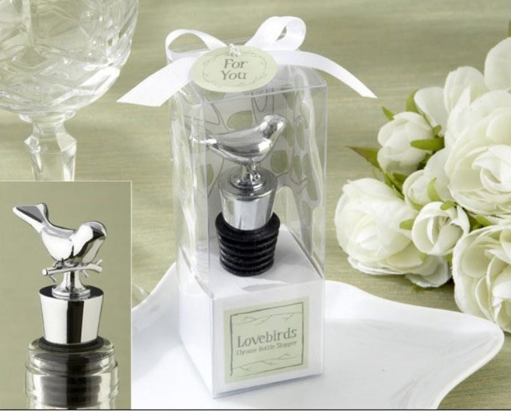 wedding favor gift and giveaways for men guest Love bird chrome wine bottle stopper bridal shower
