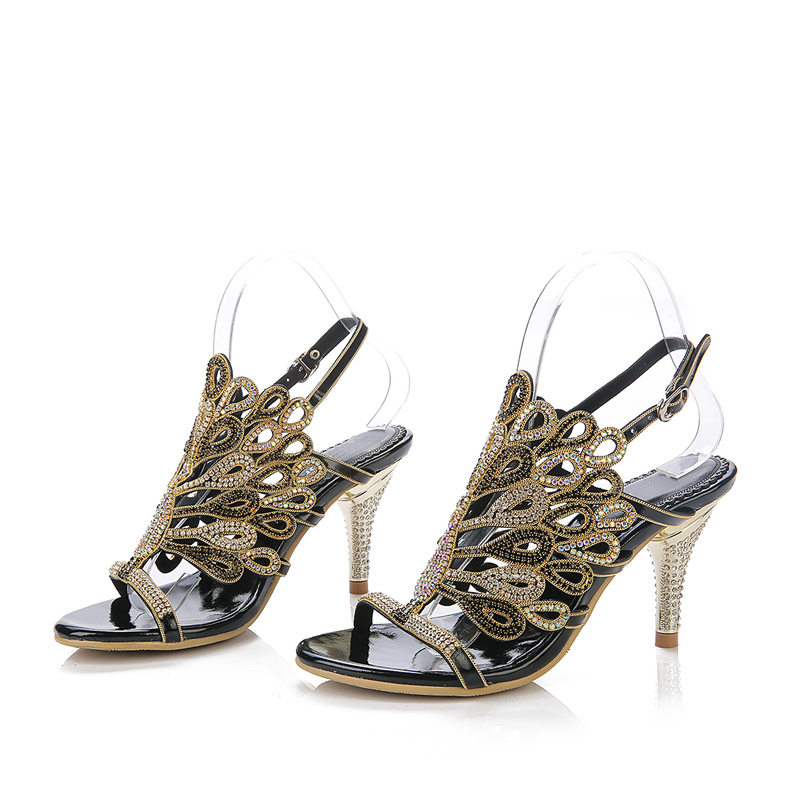Black Chaussures Heels Retour Bretelles Heels Strass Argent Robe 8cm Bal Talon Heels Sandales D'été Heels blue red Soirée Mariage silver Sexy Noir Or Aiguille Partie De Rouge gold Heels RUTWnzzA