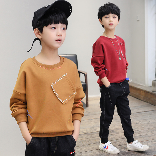 New 2019 boys t-shirts kids long sleeve tees tops clothes solid cotton spring autumn children school t shirt boys kids clothes 3