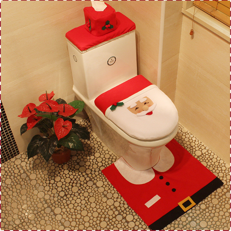 Groovy Us 7 87 31 Off 3Pc Set Christmas Interior Christmas Decoration Xmas Happy Santa Toilet Seat Cover And Rug Bathroom New Year Home Decorations In Customarchery Wood Chair Design Ideas Customarcherynet
