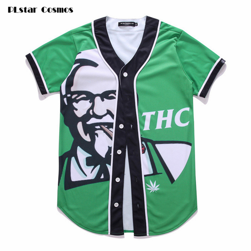 PLstar Cosmos Short Sleeve T shirt Men Baseball Jersey Casual Slim Fit V Neck T-shirt European Mens 3D T Shirt Green Tee Homme