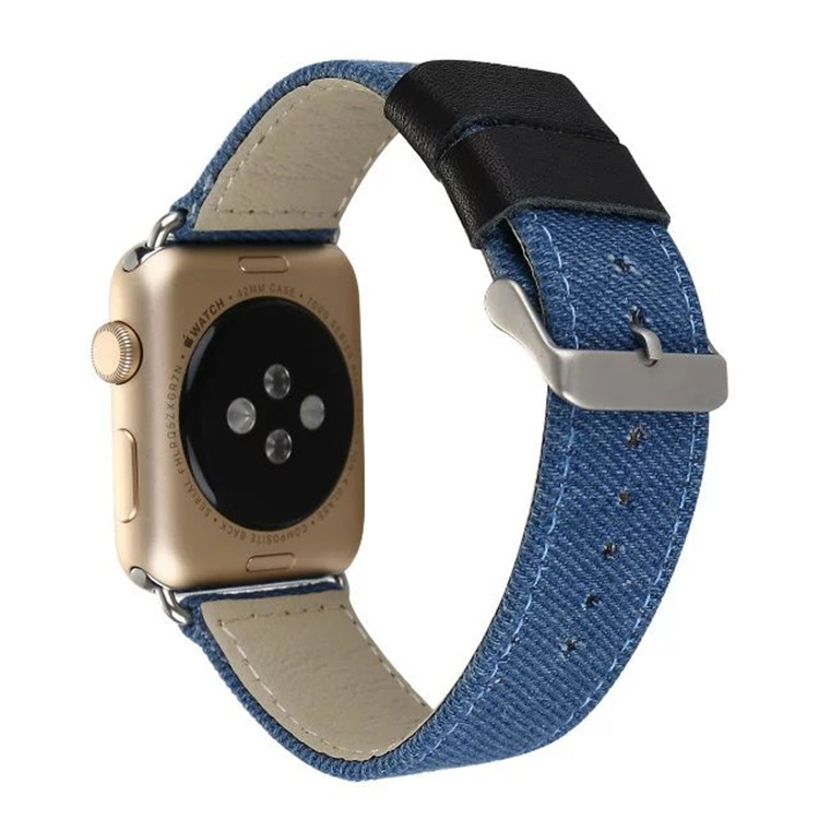 For Apple Watch Band Series 1/2 Canvas Fabric Genuine Leather Smart Watch Band Replacement with Adapter Metal Clasp 38mm 42mm цены онлайн