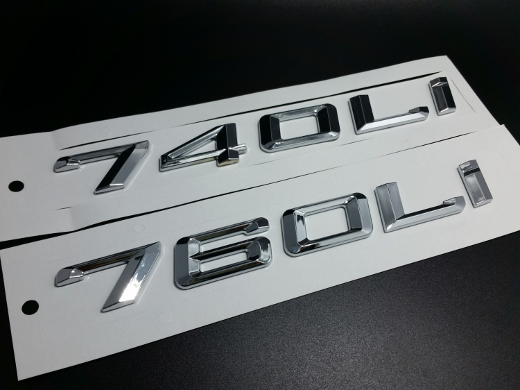 Black Matt 750Li Number Trunk Letter Emblem Badge Sticker For BMW 7 Series 750Li