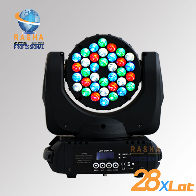 28X LOT Free Shipping 36LEDS*3W 4in1 RGBW LED Moving Head Beam,Moving Head Light With LCD Display,Beam Light,Disco Light