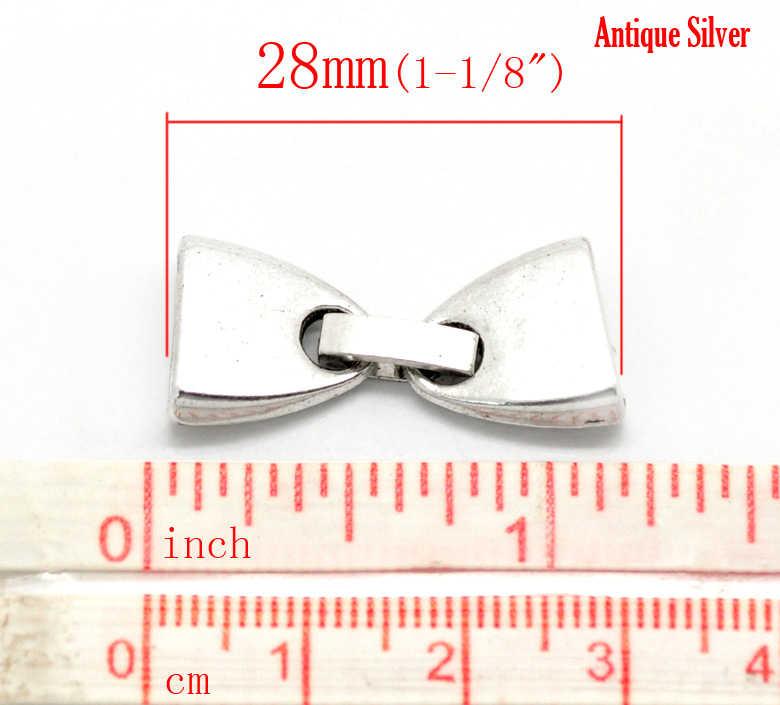 """Doreenperles collier en alliage de Zinc et métal embouts de cordon nœud papillon argent Antique 28mm (1 1/8 """") x 13mm (4/8""""), 1 ensemble"""