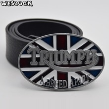 5 PCS MOQ WesBuck Brand Belt Buckle New Style British flag TRIUMPH belt buckle Oval Metal Classic Belt Buckles With PU Belt