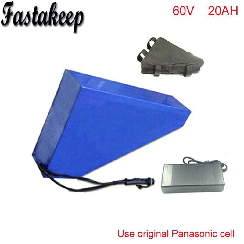 Ebike batterie 60 v 20AH au lithium ion batterie 60 v 3000 w triangle vélo électrique batterie Pour Panasonic cellulaire