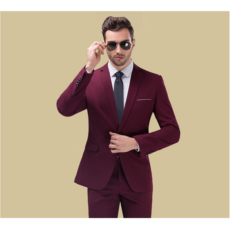 New Red Carpet Mens Suits 2019 Popular Burgundy Groomsmen Wedding Tuxedos costume homme Men Party Prom Suit (Jacket+Pants+Tie)