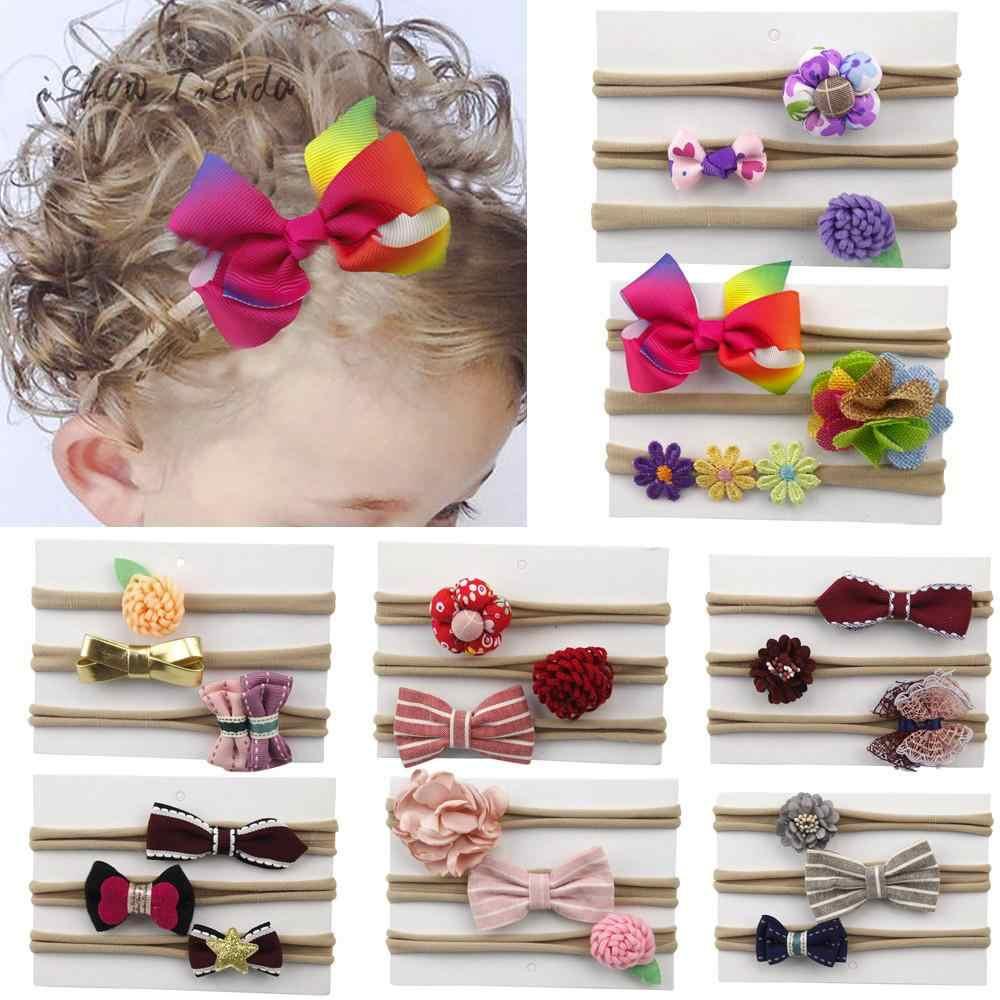 6a33df70a0cf ... 3Pcs Set baby girl hair accessories Elastic Floral children's hair bands  Bowknot Nylon baby hair clips ...