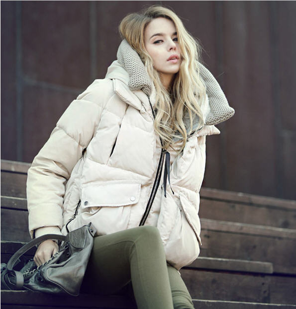 2013 New Authentic Korean Thickened Hoodie Down Jacket Women Short Military Zipper 90% Duck Down Jacket With Big Pocket H822