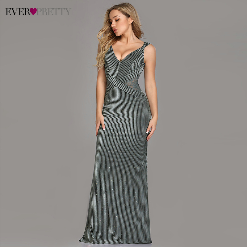 Sexy Evening Dresses Ever Pretty EZ07765GY 2020 Trumpet Sleeveless Floor-Length Vestidos De Fiesta De Noche Sparkle Party Gowns