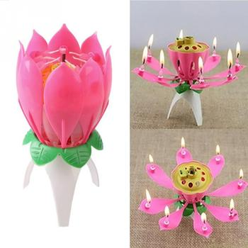 Birthday Candle Romantic Pink Will Bloom Beautiful Lotus Shaped Candle
