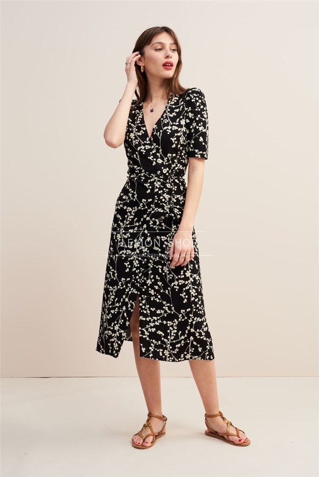 Women Dress Vintage Platypus Print Wrap Dress in Long One Piece Dress