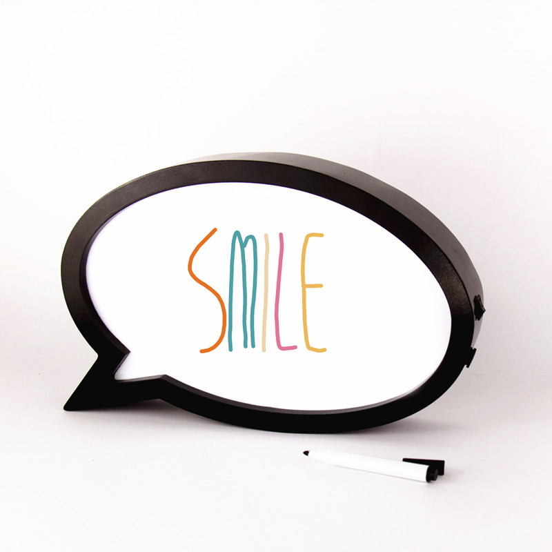 ФОТО DIY Writer wipe speech bubble wooden light box with dry-wipe marker battery operated
