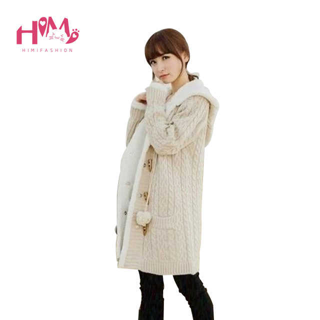 New Arrival Korean Style Women Sweater Blend Long Loose Plus Size Knitting Sweater Blend Girls Hoody Button Sweater Outerwear