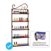 Brown Nail Polish Wall Mount Rack Stand Organizer Display Metal Up To 50 Bottles Storage