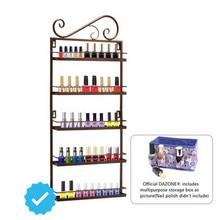 Brown Nail Polish Wall Mount Rack stand Organizer Display Metal up to 50 Bottles + Storage Box