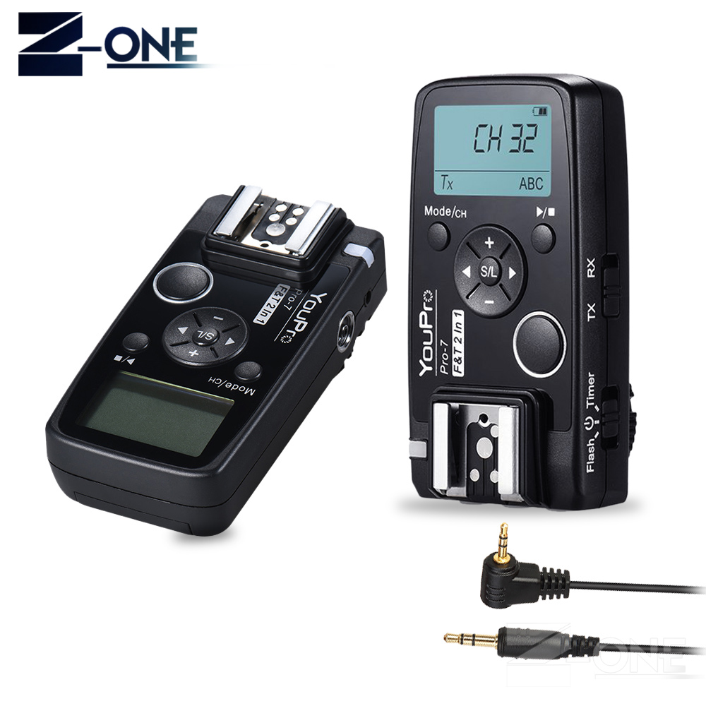 YouPro Pro-7 Wireless Shutter Remote and Flash Trigger 2in1 with E3 2.5mm PC Sync & Shutter Cable for Canon Camera meyin rs 802 e3 wired remote shutter release for canon black 90cm cable