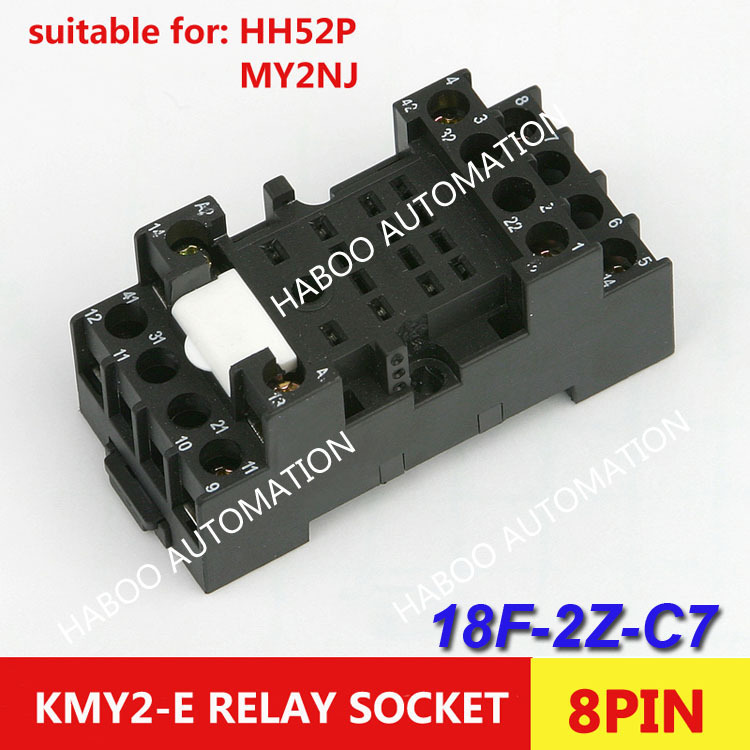 10pcs/lot HABOO Relay socket KMY2-E 8pin relay socket 2NO+2NC plug socket for HH52P MY2NJ relay