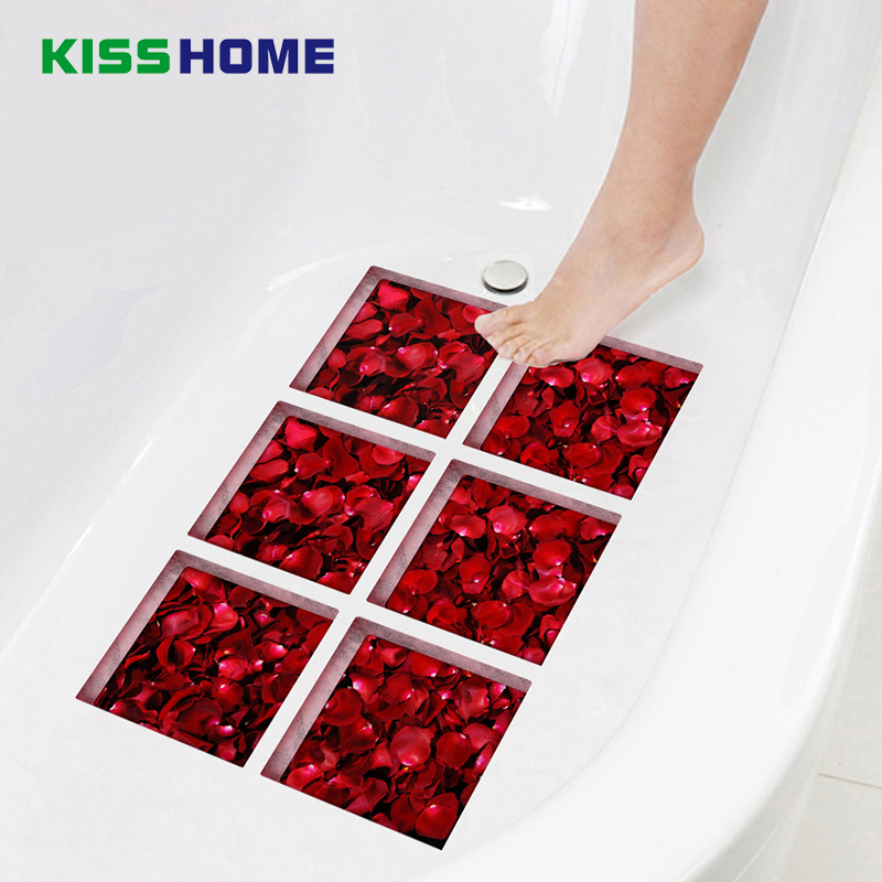 6pcs/bag Bathtub Stick Wall Sticker Imitation 3D Realistic Creative Bathroom Children Safe Mat 15cmx15cm Rose Petal Jigsaw Mats