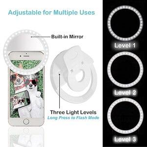 Image 5 - COOLJIER Yeni selfie halka ışık USB Şarj Taşınabilir Flaş LED kamera Telefon selfie halka ışık klip video ışık Gece Geliştirme