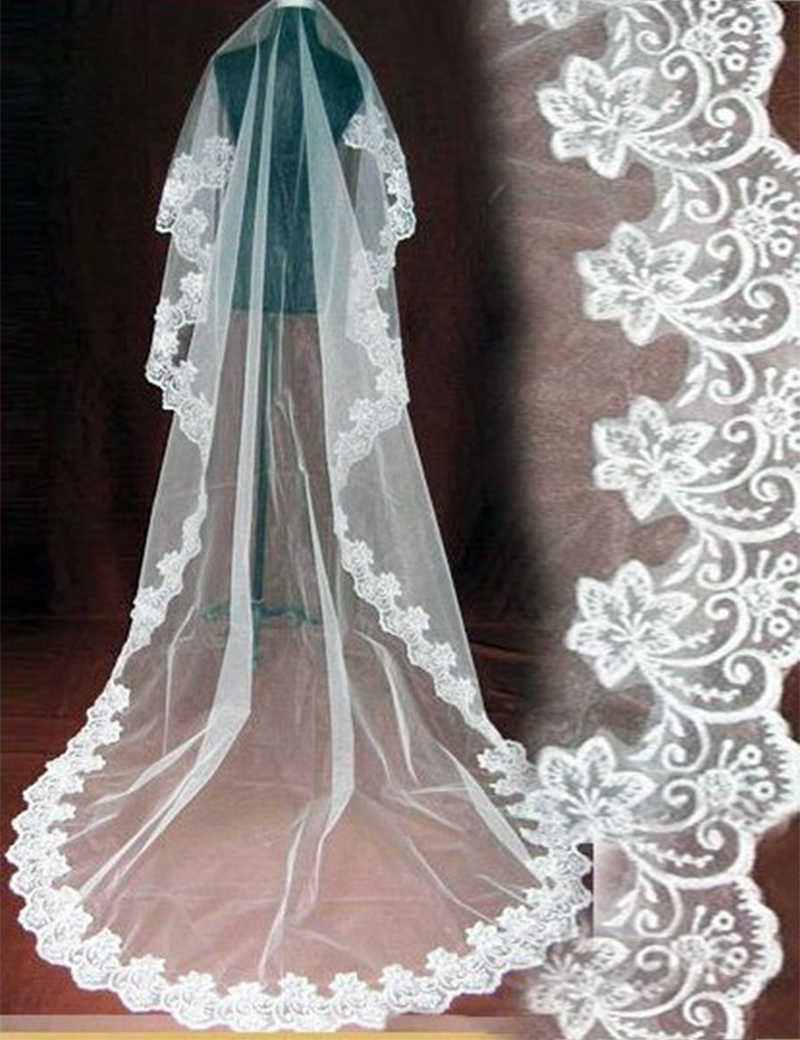 Hochzeit Schleier Neue 2017 großhandel 100% Echt Fotos spitze kante lange Kathedrale schleier/zubehör/3 Mt schleier/kopf Bridal Vail schleier