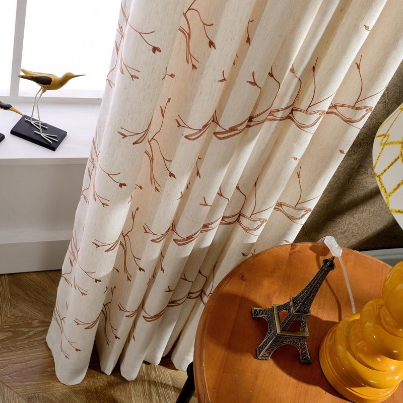 Cortinas de lino bordado moderno diseño estilo country Americana ...