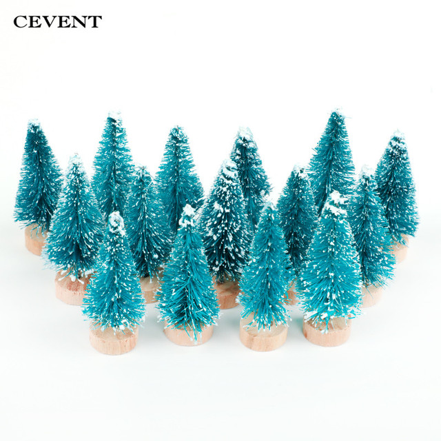 cevent 15 pcsset 2 colors small pine tree plastic artificial christmas trees desktop home - Small Decorations For Christmas