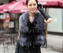 Fashion Womens Real Silver Fox Fur Vest Casual Pieces Silver Fox Fur Gilet with Adjustable Waistband Sleeveless Outwear LX00064