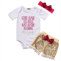 3Pcs Cute Baby Girl Clothes Fashion Short Sleeve Letter Romper Sequin Pants Headband Baby Outfits Set