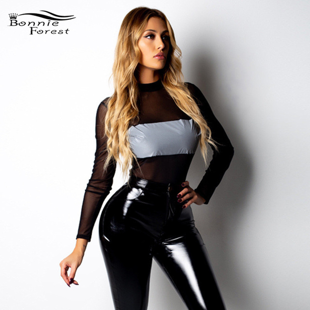 60f5097a0fb9 Bonnie Forest Sexy See-Through Long Sleeve Reflective Patchwork Bodysuit  Fashion Stretchy Mesh Short Jumpsuit Body Mujer Rompers