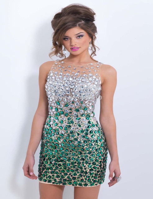 Sexy Backless Beaded Crystal Short Prom Dresses Vestido De Festa Scoop  Turquoise Party Dresses Above Knee 1eb217f920a3