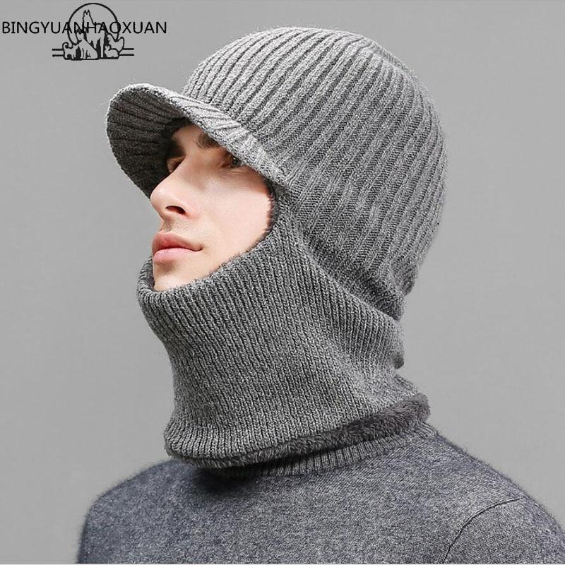 BINGYUANHAOXUANThickening knitted Wool Cap Men Winter Hat Keep Warm Bonnet Balaclava Face Mask Hats Women Beanie Dual-use Gorro