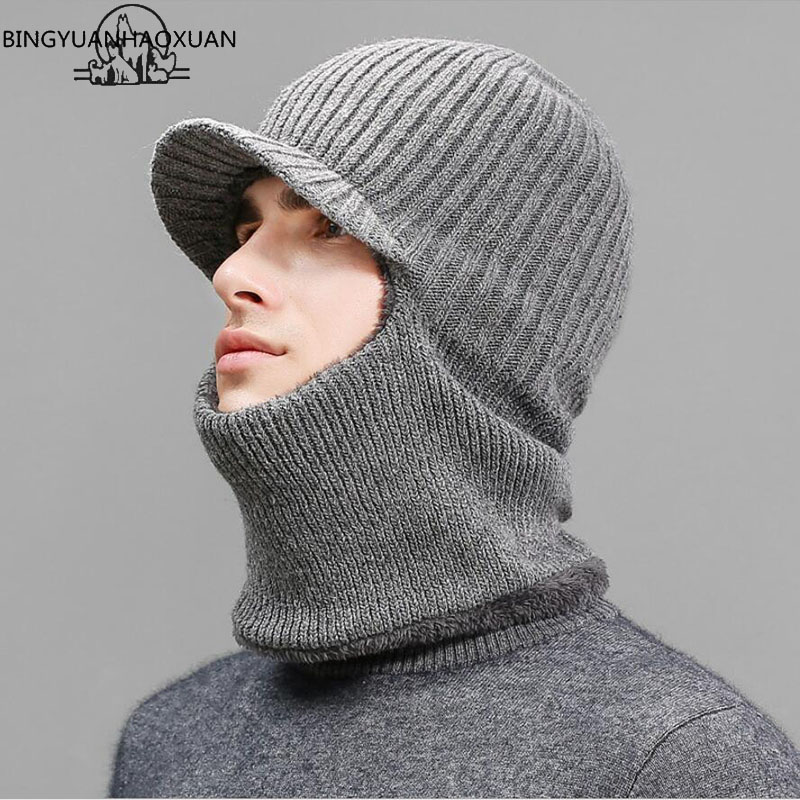 BINGYUANHAOXUANThickening knitted Wool Cap Men Winter Hat Keep Warm Bonnet Balaclava Face Mask Hats Women Beanie Dual-use Gorro