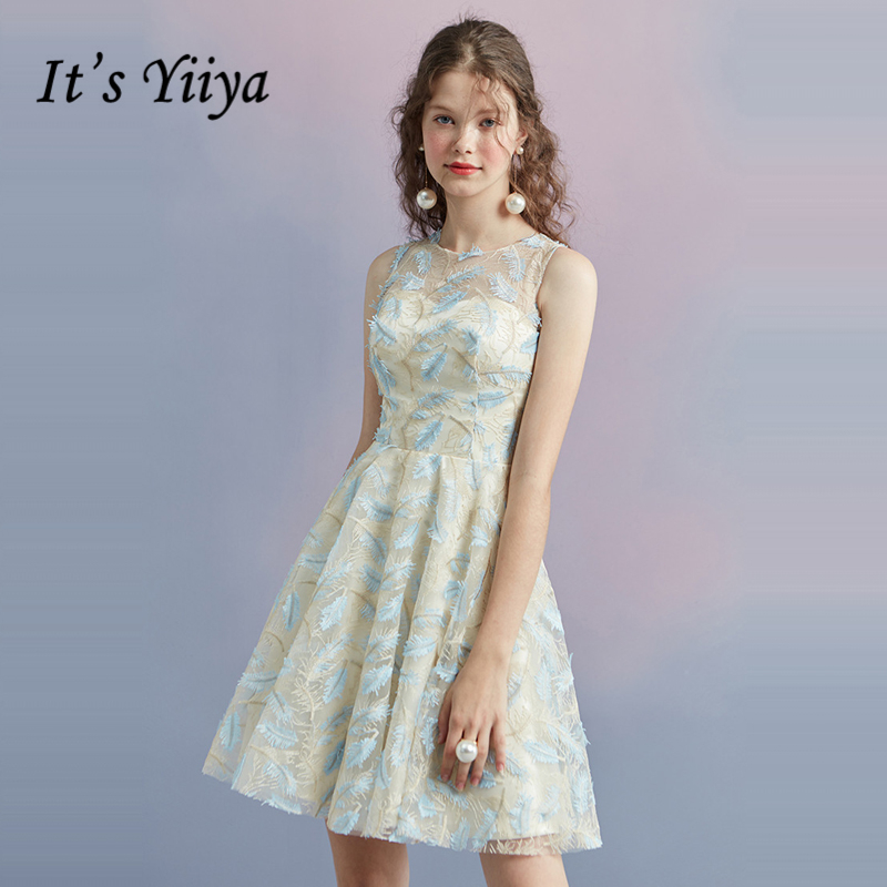 It's YiiYa Cocktail Dress 2018 Party Sleeveless Contrast Color Fashion Designer Elegant Short Cocktail Gowns LX1062