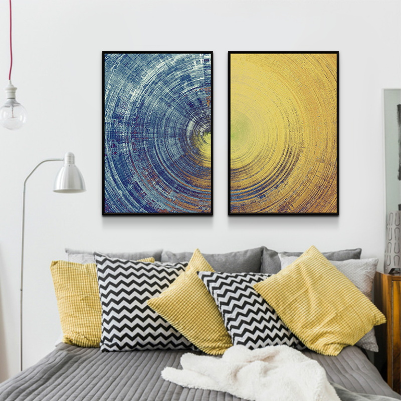 Abstract Blue Meets Yellow Circle Wall Art Canvas Paintings Poster And Prints Pictures For Bedroom Living Room Home Decoration