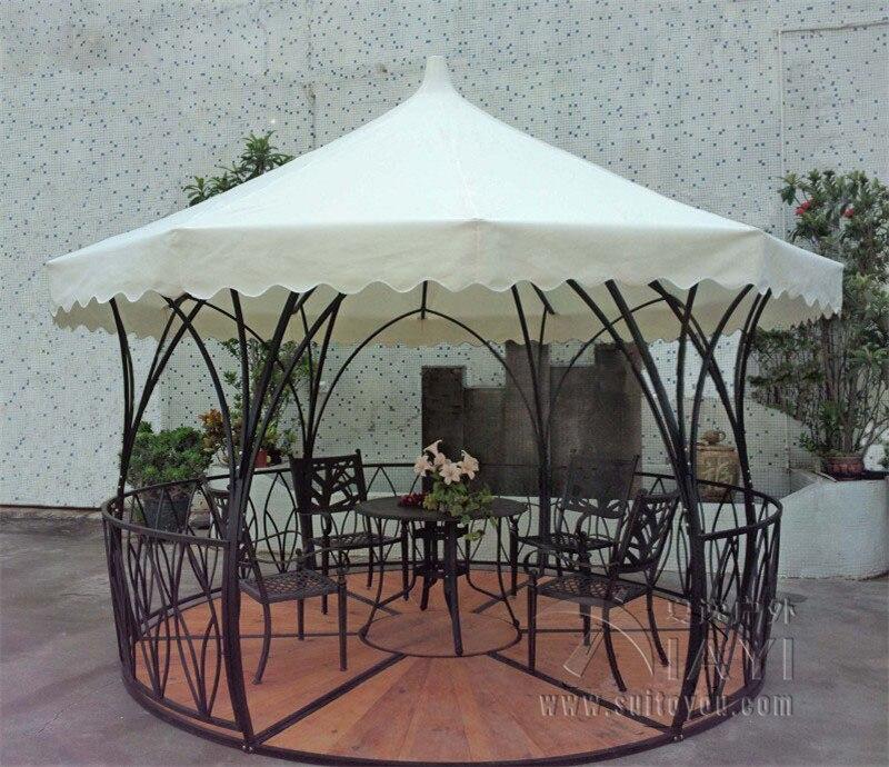 Dia 3.5 Luxury Meter Steel Iron Rattan Outdoor Gazebo Tent Patio Pavilion  Canopy For Garden Beige