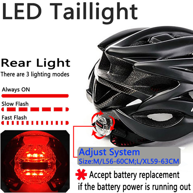 Capacete de bicicleta certificado cpsc ce, capacete de ciclismo mtb com luz traseira e viseira solar 4